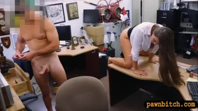Big ass amateur brunette babe pussy fucked at the pawnshop
